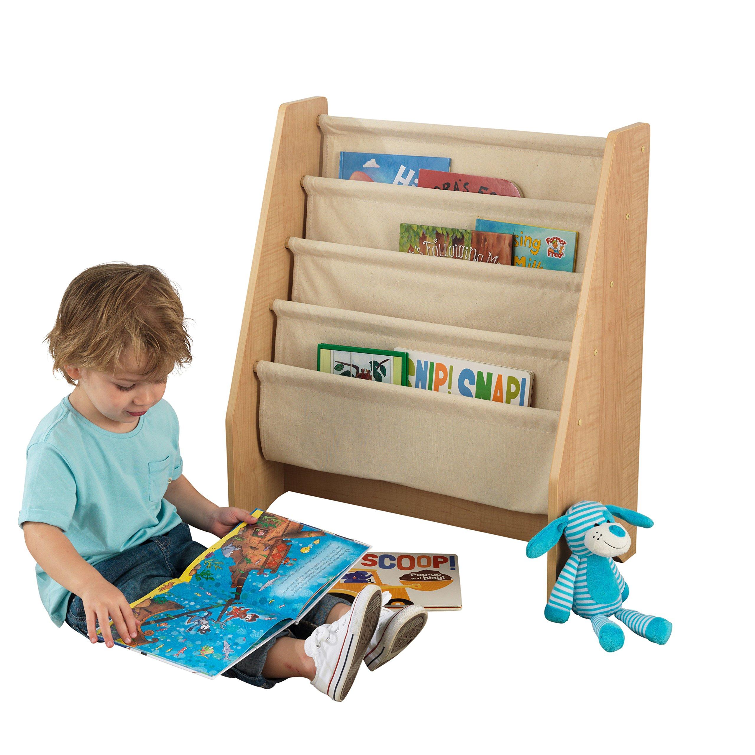 KidKraft 14221 Libreria in Legno e Tessuto, Mobili per Camera da Letto e  Sala Giochi per Bambini con 4 Tasche Portaoggetti - Colore Naturale