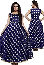 Leefashion Modal Blue Color Western wear A-Line Dress for Women/Girls