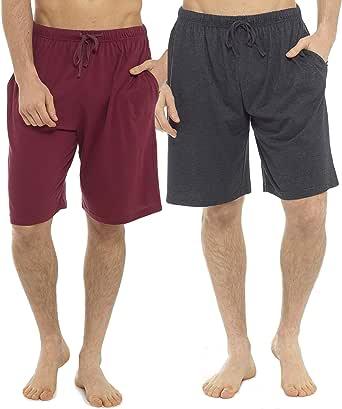 Tom Franks Mens Cotton Lounge Wear Pyjama Shorts (Pack of 2) M Wine-Grey