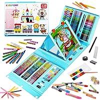 KINSPORY 228 PCS staffelei malset, malen und zeichnen set, künstler buntstifte farbstifte malkoffer malkasten für kinder…