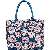 AQVA Printed Cotton Canvas Water Resistant Tote Bag for Women & Men - Reusable Shoulder Bag with Full Top Zipper, Inner Pocke