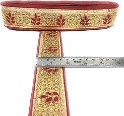 Crisskross Rajasthani Gotta Patti Lace Border,Patti Zari/Maroon Red Golden/Designer for Dress/Sarees/Lehenga/Suits/Blouses and Craft 4.5cm X 9meters Pack…