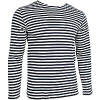 Maglietta Telnyashka, maglietta della marina russa, a maniche lunghe, a strisce di colore blu marino