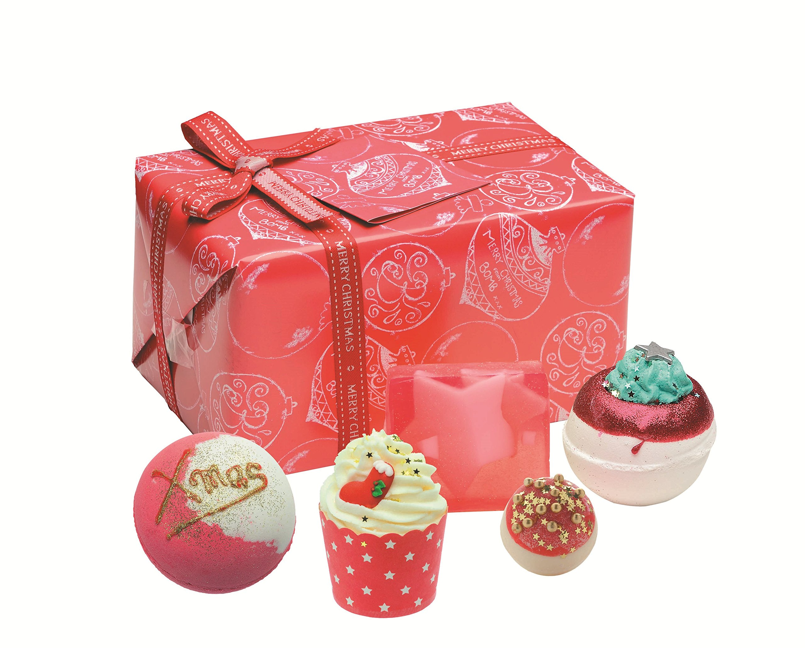 Bomb Cosmetics Santa Baby Handmade Wrapped Gift Pack [Contains 5-Pices], 560g