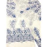 """Large Rectangle Sheer Chiffon Blue White Paisley Scarf Women's Scarves Hijab Shawl Pashmina Headband Bandana 23"""" wide x 60"""" i"""