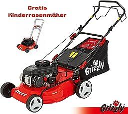 Grizzly Benzin Rasenmäher BRM 46 141 A OHV, 2,0 kW 2,7 PS, 46 cm Schnittbreite, Stahlgehäuse, 5 Fach Höhenverstellung, Hinterradantrieb, inkl. Kinderrasenmäher