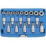 BGS 5100 | Bitanvändare/nyckelsats för användning | 19 delar. | 12,5 mm (1/2 tum) | E-profil/T-profil (för torx) | CV-stål