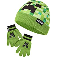 Minecraft Hat And Gloves For Boys, Green Beanie Hat Featuring Creeper Pixel Design, Super Soft and Comfortable Kids Hat, Official Minecraft Merchandise, Great Gaming Gift Idea for Boys or Girls
