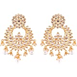I Jewels Traditional Gold Plated Chandbali Earrings Encased With Faux Kundans For Women/Girls (E2456W)