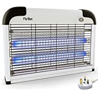 Fly-Bye - Insect Killer 20W UV Light - Attract and Zap Flying Insects - The Power of a Commercial Zapper Made For The Home - 2800v Killing Mesh Grid, with Detachable Hanging Chain (White)