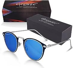 elegante Metal Nose Bridge Retro, Round Mirrored Unisex Sunglasses (Blue, S-003)