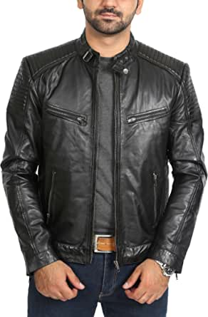 Mens Fitted Biker Style Real Leather Jacket Zip Up Quilted Coat Ron Black