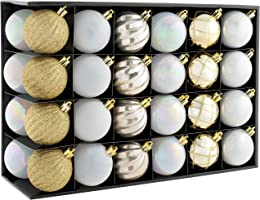 WeRChristmas Shatterproof Luxury Christmas Tree Baubles, 48-Piece - Gold/Silver/White