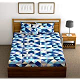 Fab Theory 144 TC Cotton Double Bedsheet with 2 Pillow Covers - Checkered, Blue