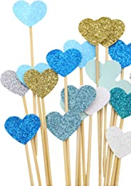 PuTwo Handmade 20 Counts 6 Colours Peach Heart Cake Toppers Wedding Decoration Party Supplies Cupcake Toppers- Green Heart