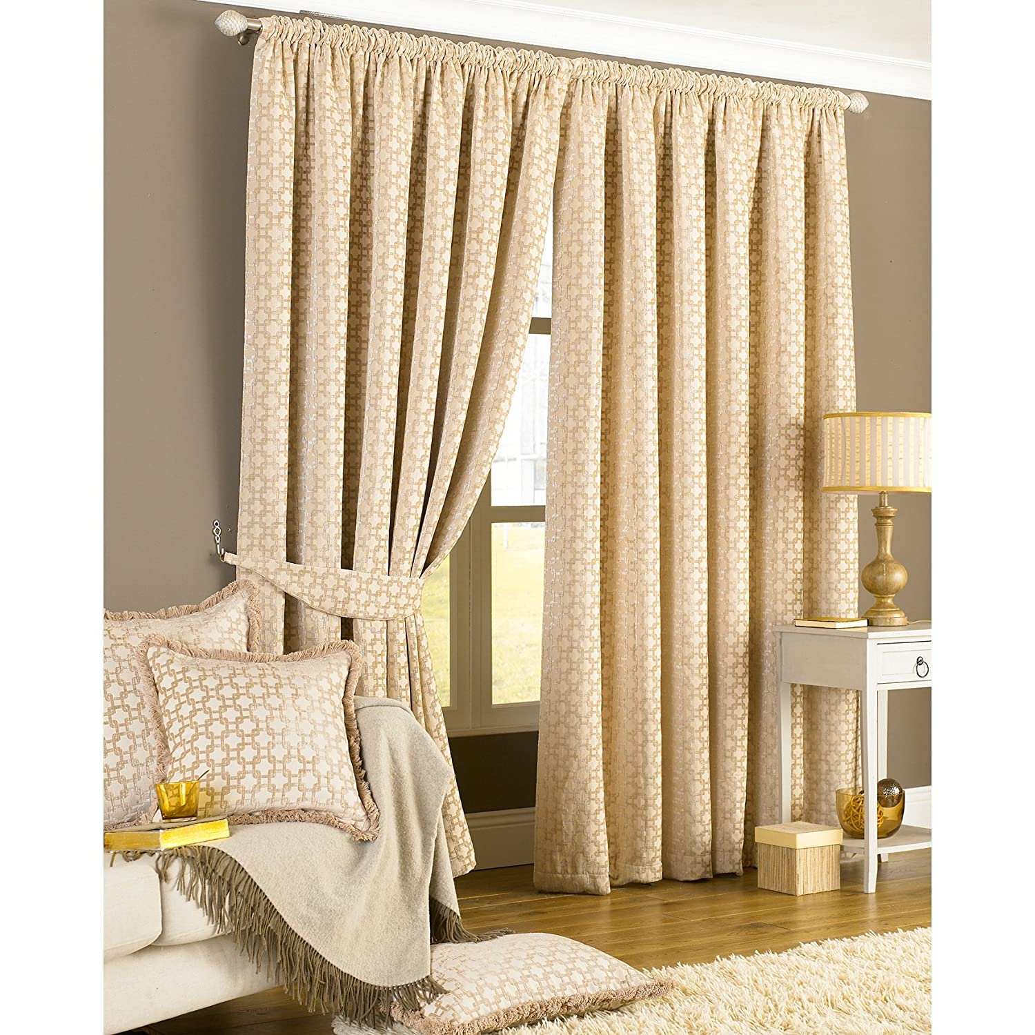 Charming Paoletti Belmont Chenille Jacquard Pencil Pleat Curtains, Silver, 90x90  Inch: Amazon.co.uk: Kitchen U0026 Home