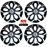 Hotwheelz Sporty Dual Color Silver Black 12-inch Wheel Cover with Rings(Set of 4pc, Glossy Silver Black)