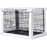 dobar 35241 stor hundkorg av trä med bordsyta för insidan, hundbox Indoor, M, vit