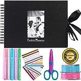 Álbum de fotos para álbumes de recortes Inicia, 80 páginas, kit con 5 bolígrafos metálicos, tijeras y 216 esquinas de fotos m