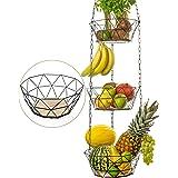 DEKOFY Corbeille de fruits exclusif pour suspendre avec longue chaîne [130cm] et fond en bois véritable – réglable individuel