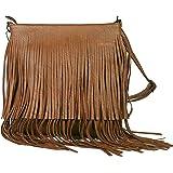 GFM® Kunstleder-Tasche mit weichen Fransen auf beiden Seiten, Schultertasche