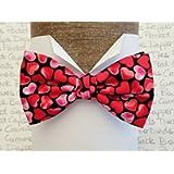 Heart print pre tied or self tie bow tie