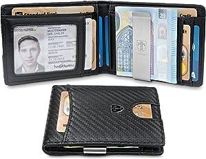 """TRAVANDO ® Geldbeutel mit Geldklammer """"SEATTLE"""" - 9 Kartenfächer - Schlankes Portemonnaie ohne Münzfach in Carbon-Optik - Ausweisfach - Geschenk Box - Designed in Germany (Carbon)"""