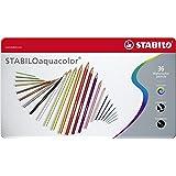 STABILO 1636-5 Aquarel glaspotlood - aquacolor – metalen etui met 36 stuks – met 36 verschillende kleuren