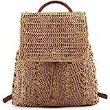 Faletony Damen Stroh Rucksack Strandtasche Stroh Handtasche mit Griff oben Badetasche Tagesrucksack Kordelzugbeutel für Stran
