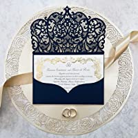 Fai da te apribile taglio laser inviti matrimonio partecipazioni matrimonio blu marino carta con busta - campione…