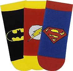 Superman, Batman, Flash Kids Cotton Low Cut Socks - Justice League (Pack of 3)
