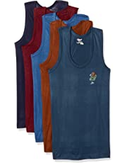 Rupa Jon Boys' Cotton Vest (Pack of 5)(Colors & Print May Vary)