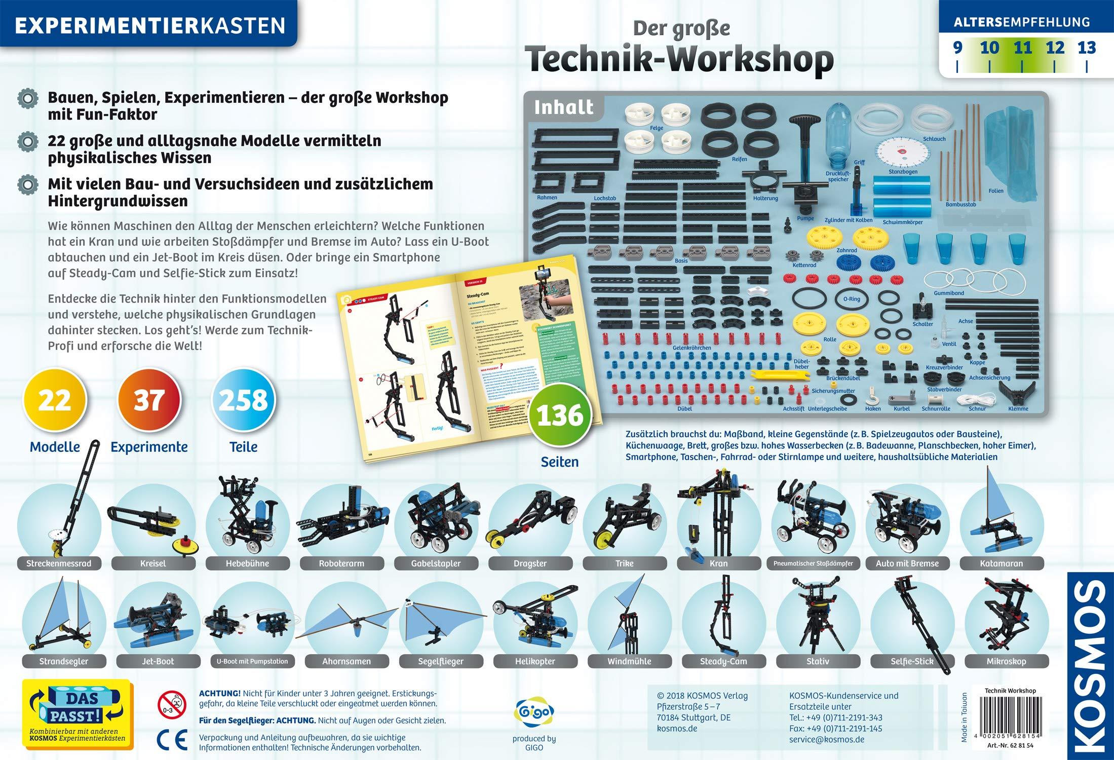 Kosmos 628154 Der Große Technik Workshop 22 Mechanische Modelle Bauen Und Testen Experimentierkasten Für Kinder