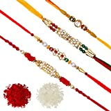 DishanKart Pack of 4 Rakhi for Men with Roli Chawal Tilak - AD Ring With Wooden Beads & Red Green Beads