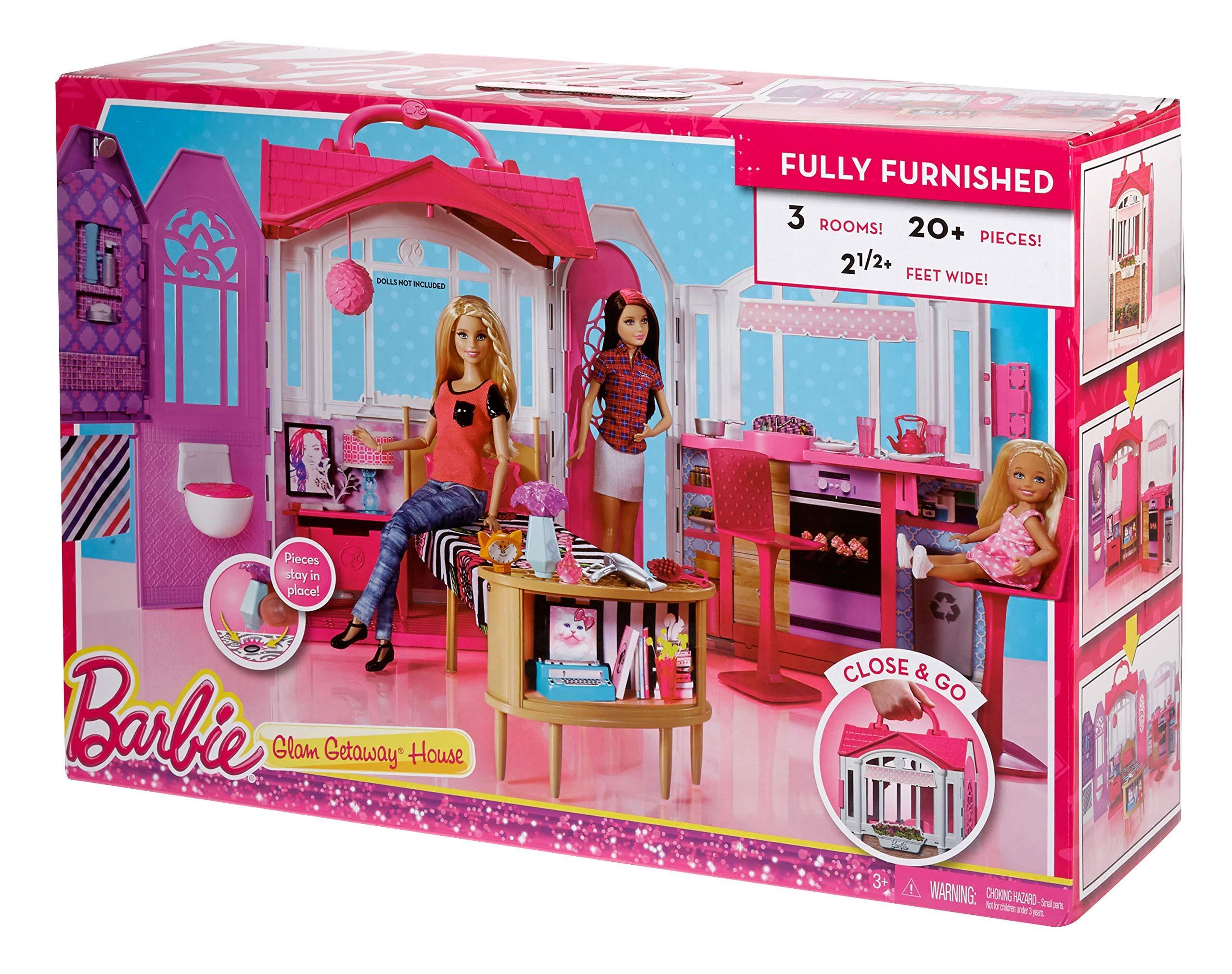 Barbie Casa Vacanze Glam, Richiudibile, con Cucina, Camera da Letto ...