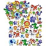 Baker Ross Autocollants animaux de la jungle en mousse (lot de 96) - Matériel créatif pour enfants