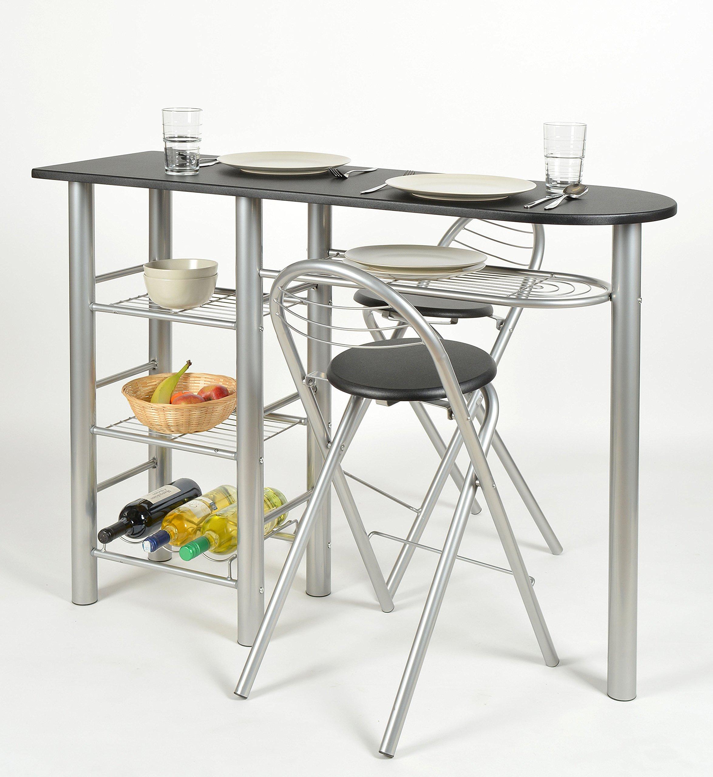 ts-ideen Set 3 pezzi Tavolo con 2 sgabelli in Alluminio e MDF color Nero  per Cucina o Sala da Pranzo