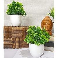 Litleo Artificial Table Top Mini Bonsai with Pot (Green, Set Of 2)
