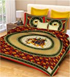 RajasthaniKart Classic 144 TC Cotton Double Bedsheet with 2 Pillow Covers - Abstract, Multicolour
