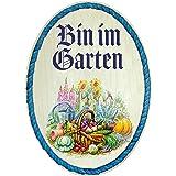 Kaltner Präsente Cadeau-idee - hout geschenkartikelen deco deurbordje in antiek design decoartikel motief Bin in in de tuin (
