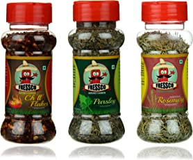 Fressco Nature's Garden Chilli Flakes, Parsley and Rosemary, 100 Grams (Combo of 3)