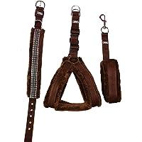 Petshop7 Nylon Fur 0.75-Inch Small Dog Harness, Collar & Leash (Chest Size 25-28-inch, Brown)