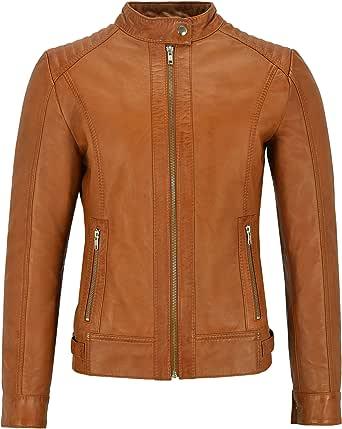 Giacca in Pelle da Donna Fashion Biker Tan Retro Imbottito Stile Moto Vera Pelle di Agnello 4550