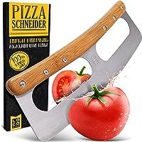 Loco Bird Pizzaschneider - Pizzamesser aus Edelstahl mit Bambusgriff - Pizzacutter mit Klingenschutz - Vielseitig…