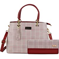 Bellissa Maroon PU Leather Combo Handbag for Women