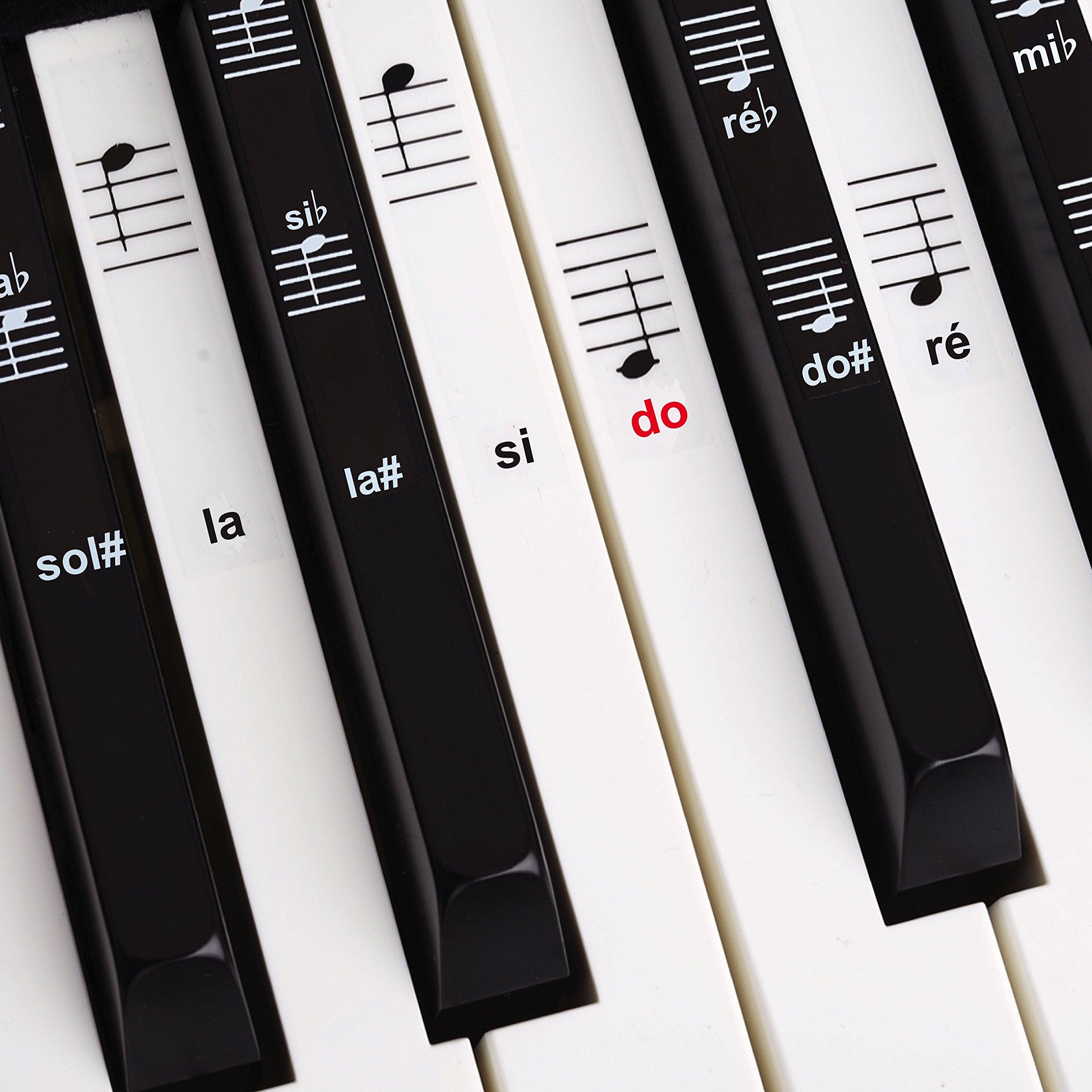 Auto collants pour Notes de piano + Clavier pour 49| 61| 76| 88Touches + Ebook gratuit | Kit COM