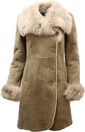Cappotto Donna in Pelle di Pecora Merino Scamosciata Beige Caldo con Colletto Toscana