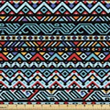 Lunarable Tribal Fabric by The Yard, Colorful Geometric Mexican Pixel Art Pattern Indigenous Native Style, Decorative Fabric