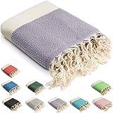 HolyDays® Strandtuch XXL 100x180cm aus 100% Baumwolle Oeko-TEX® | Hamamtuch | Badetuch | Saunatuch | Peshtemal | Fouta | Pick