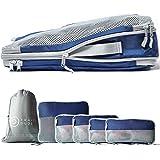 TRAVEL DUDE Packwürfel Set mit Kompression aus recycelten Plastikflaschen   Packing Cubes   Packtaschen Set für Rucksack & Ko